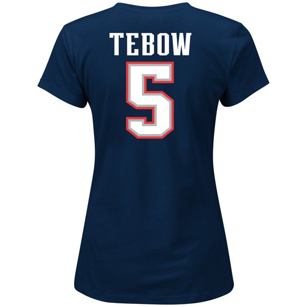 Ladies Tim Tebow Fair Catch Tee-Navy