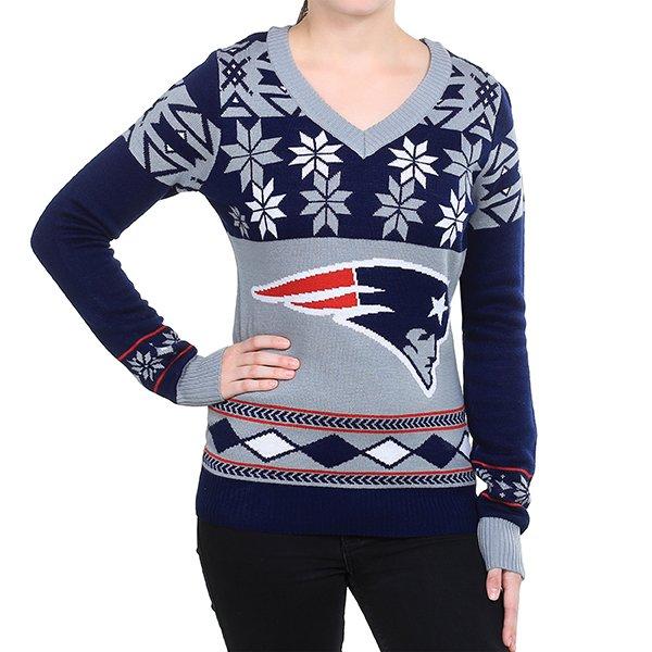 Ladies Patriots V-Neck Ugly Sweater