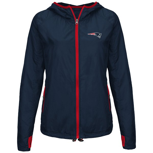 Ladies Warm Up Full Zip Jacket-Navy/Red