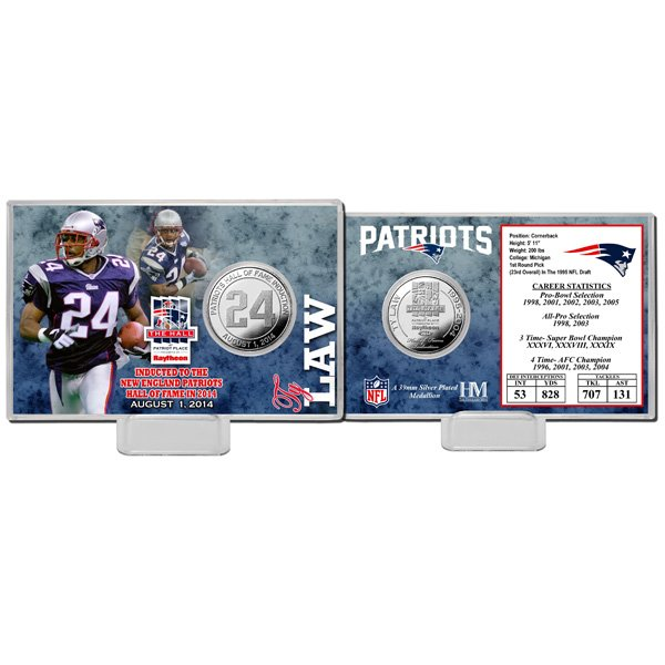 Ty Law Hall of Fame Silver Coin Card