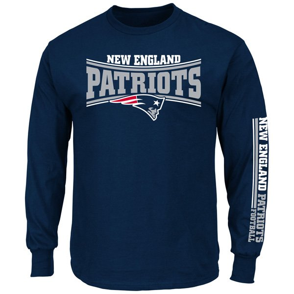 Majestic Primary Receiver Long Sleeve Tee-Navy