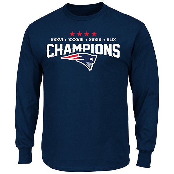 Majestic 4 Time Champions Long Sleeve Tee-Navy