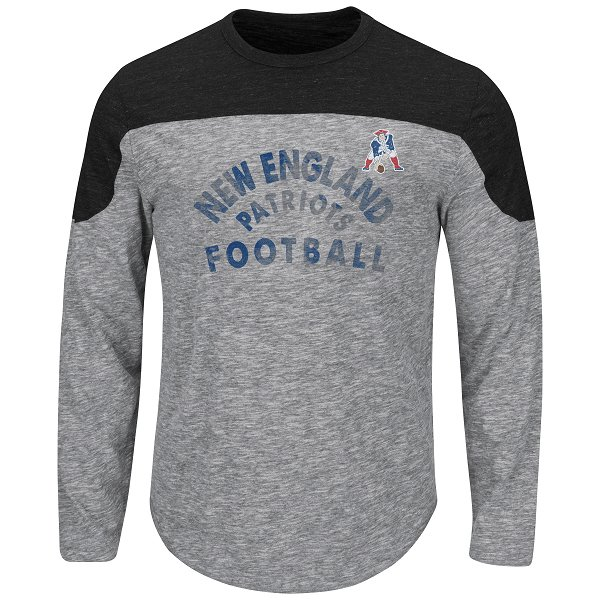 Majestic Corner Blitz Throwback Long Sleeve Top-Gray