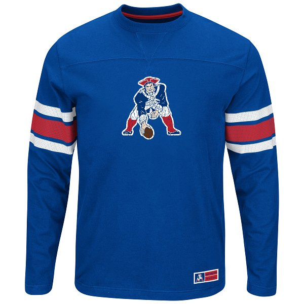 Majestic Power Hit Throwback Long Sleeve Top-Royal