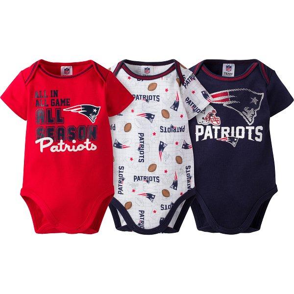 Newborn 3pk Bodysuits-Navy/White/Red