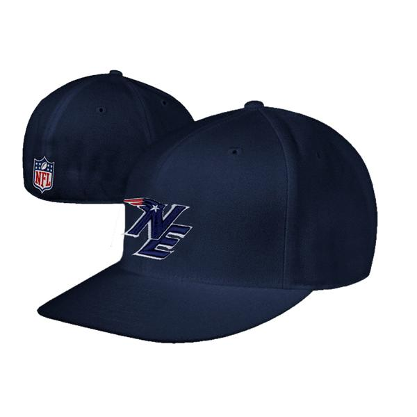 NE Logo Structured Fitted Flat Cap-Navy