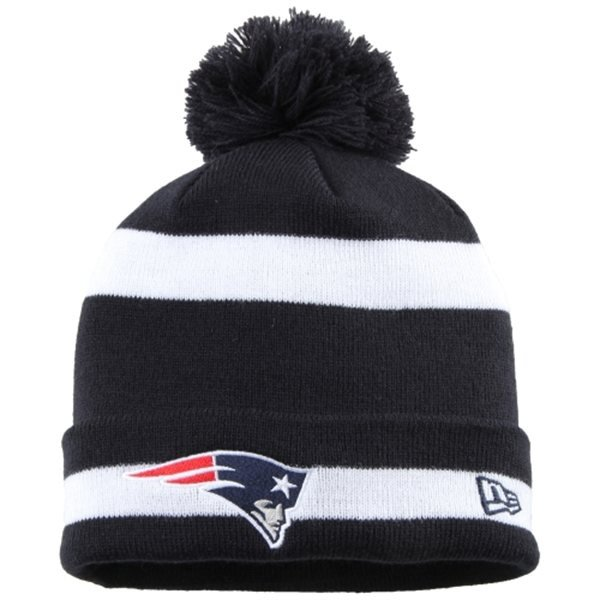 New Era Striped Pom Knit Hat-Navy