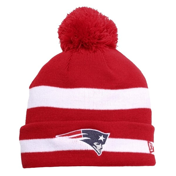 New Era Striped Pom Knit Hat-Red