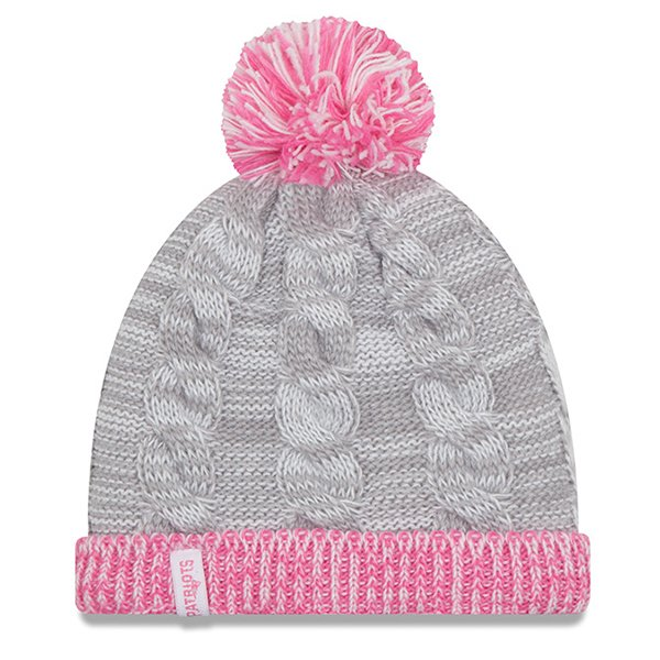 Girl New Era Snug Knit Hat-Gray/Pink