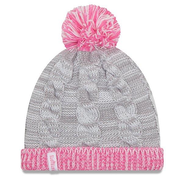 Girl New Era Snug Knit Hat-Gray/Pink