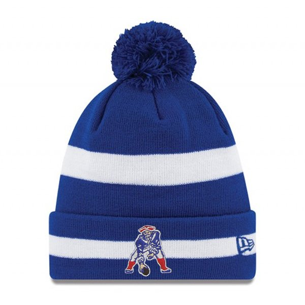 New Era Throwback Striped Pom Knit Hat-Royal