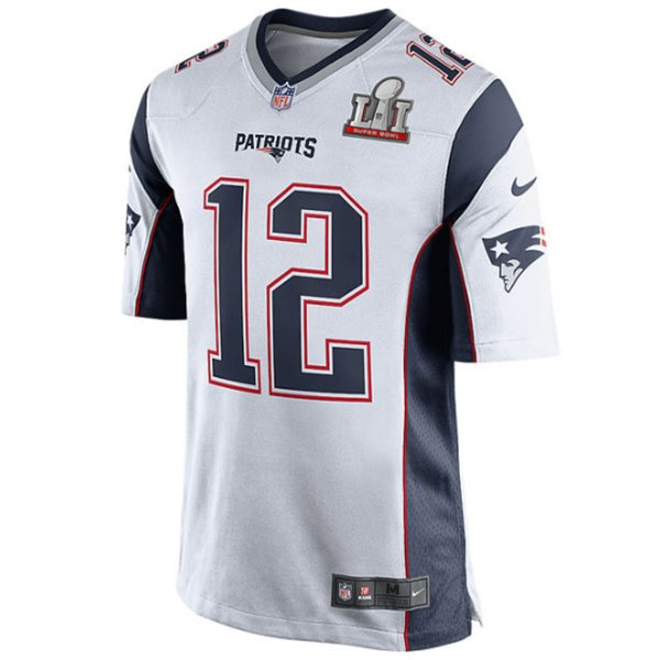Nike Tom Brady #12 SB51 Patch Jersey-White