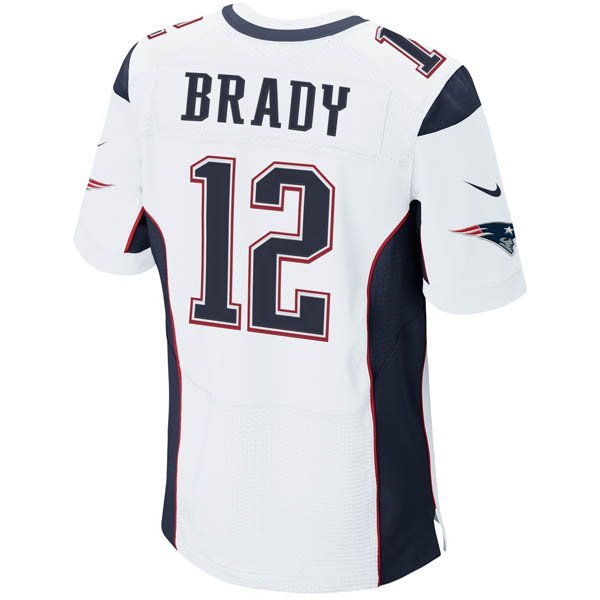 Nike Elite Tom Brady #12 Jersey-White