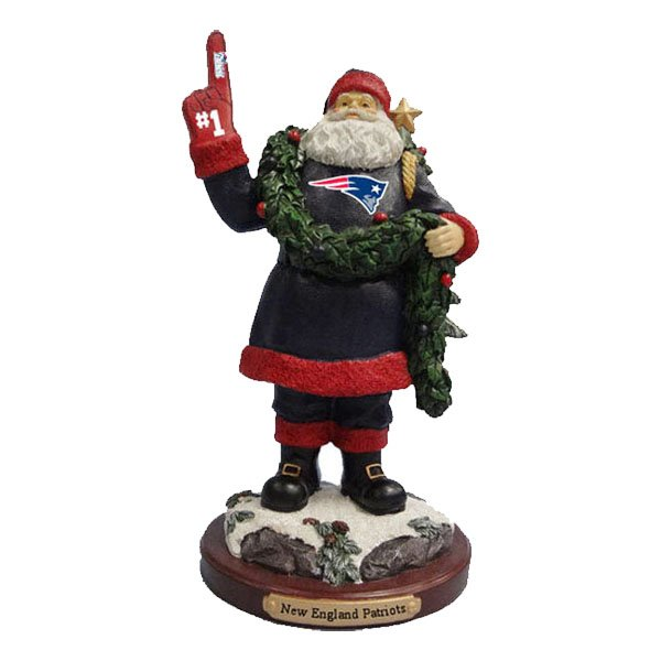 Patriots Foam Finger Santa Figurine