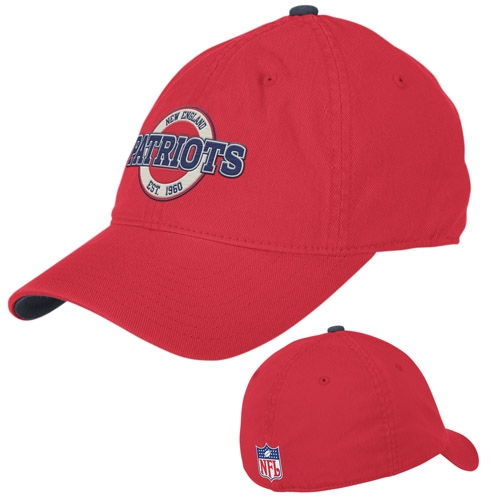 Patriots Flexfit Circle Slouch Cap-Red