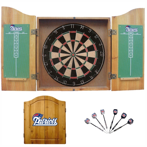 Patriots Dart Board Cabinet Set