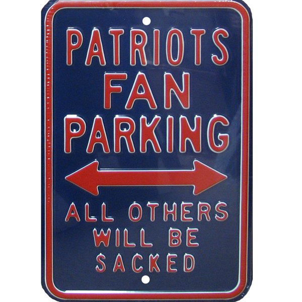Patriots Fan Parking Metal Sign