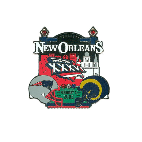 Patriots/Rams Super Bowl XXXVI Pin