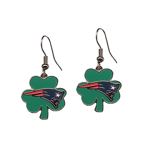 Patriots Shamrock J-Hook Earrings