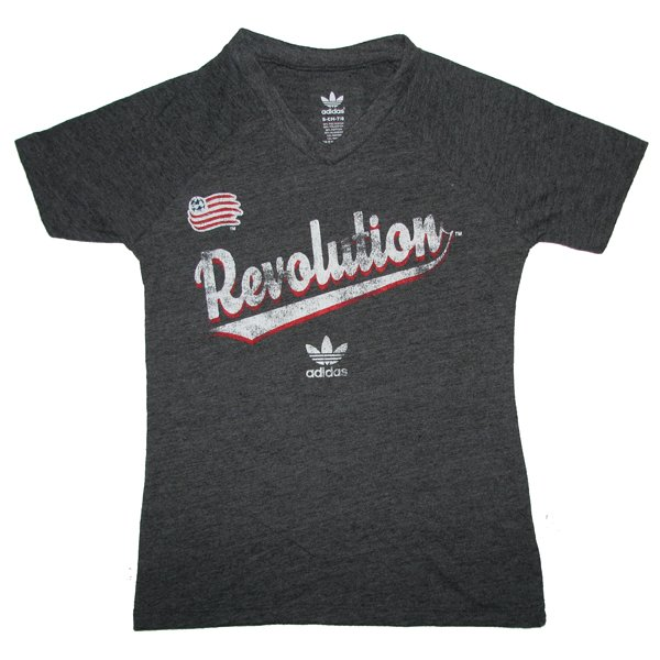 Revs Girls Script V-Neck Triblend Tee-Charcoal