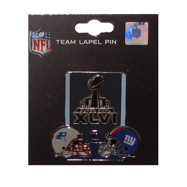 Patriots vs Giants Super Bowl XLVI Dueling Pin