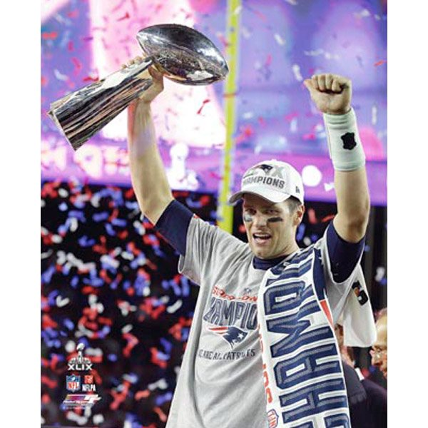 Super Bowl XLIX Brady Trophy 8x10 Photo