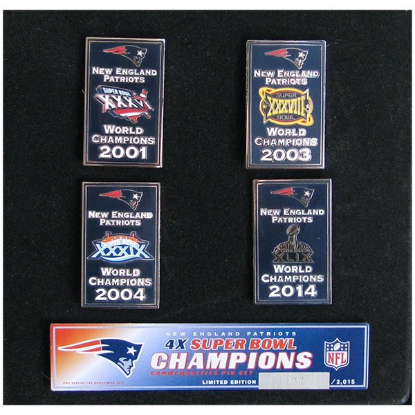 4 Time Super Bowl Champions Banner Pin Set