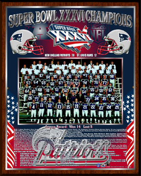 Super Bowl 36 Champs Plaque