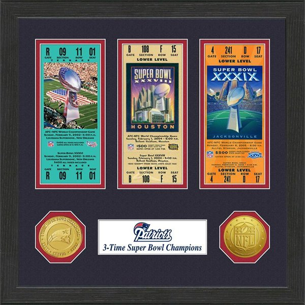 3 Super Bowl Ticket/Coin Frame