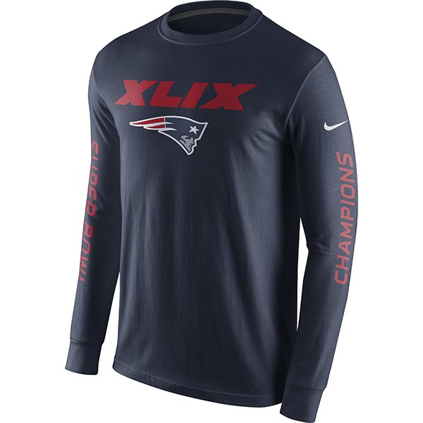 Super Bowl XLIX Champs L/S Tee-Navy by Nike