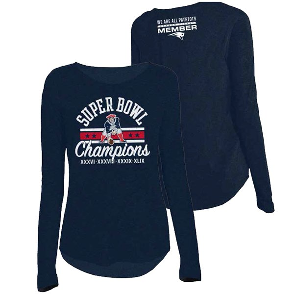 Ladies 4X Champs Throwback STM L/S Tee-Navy