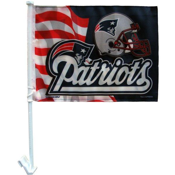 Patriots Script Logo/Helmet Car Flag