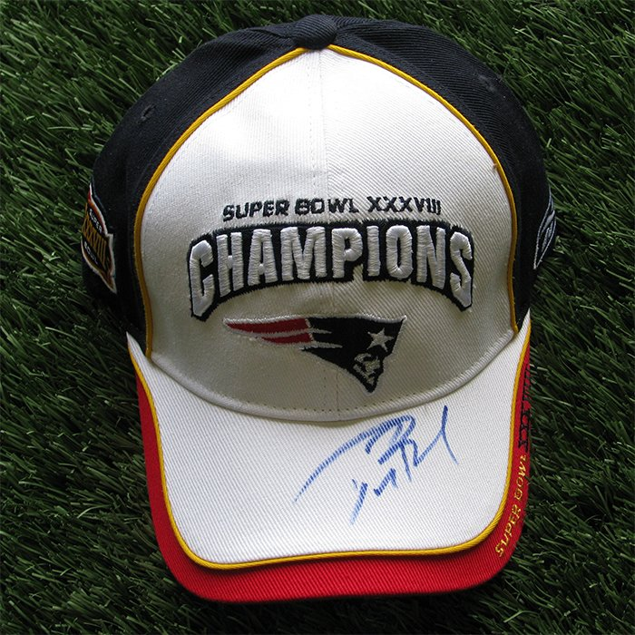 Autographed Tom Brady Super Bowl 38 Champs Cap