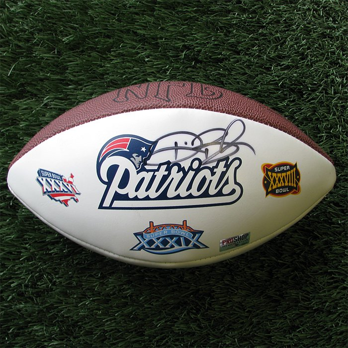 Autographed Deion Branch 3X Champs Ball