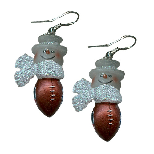 Snowman Football Earrings