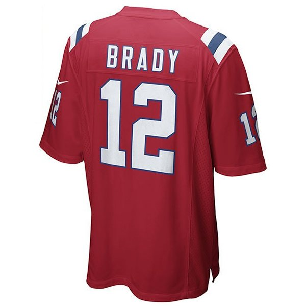Nike Tom Brady #12 Throwback Game Jersey-Red