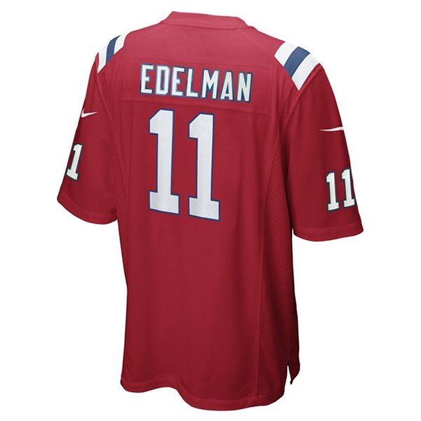 Nike Julian Edelman #11 Throwback Jersey-Red