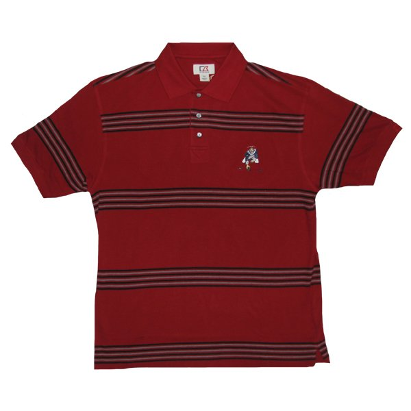 Throwback University Stripe Polo-Cardinal/Black