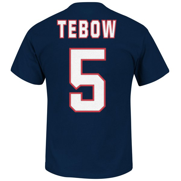 Tim Tebow #5 Name & Number Tee-Navy