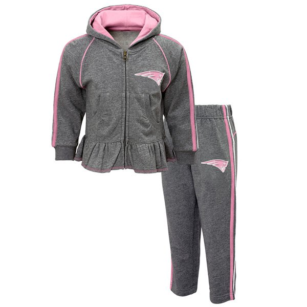 Toddler Girl Fleece Set-Gray/Pink