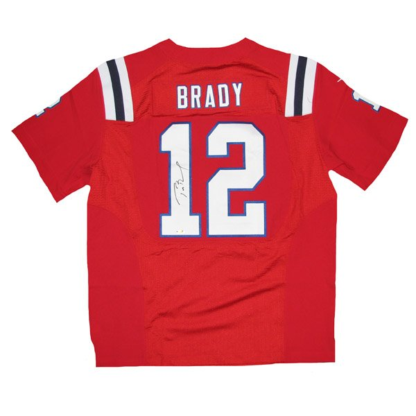 Tom Brady Autographed Nike Throwback Elite Jersey-Red