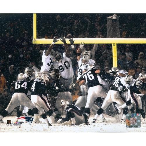Vinatieri Snow Bowl Kick 8x10 Photo