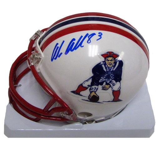 Wes Welker Signed Throwback Mini Helmet 
