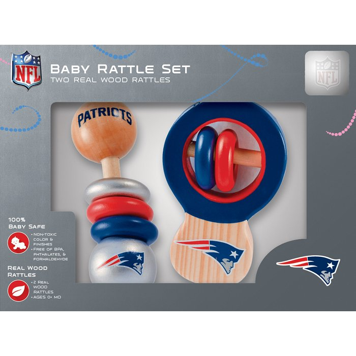 Patriots Baby Wooden Rattle Set
