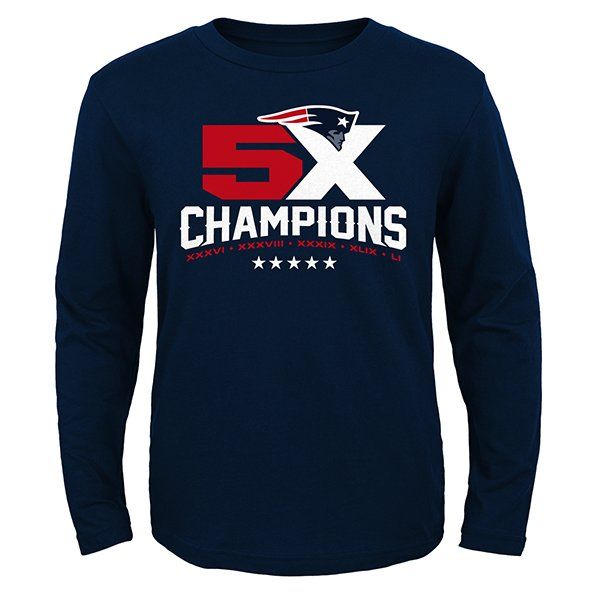 Youth 5X Champs Long Sleeve Tee-Navy