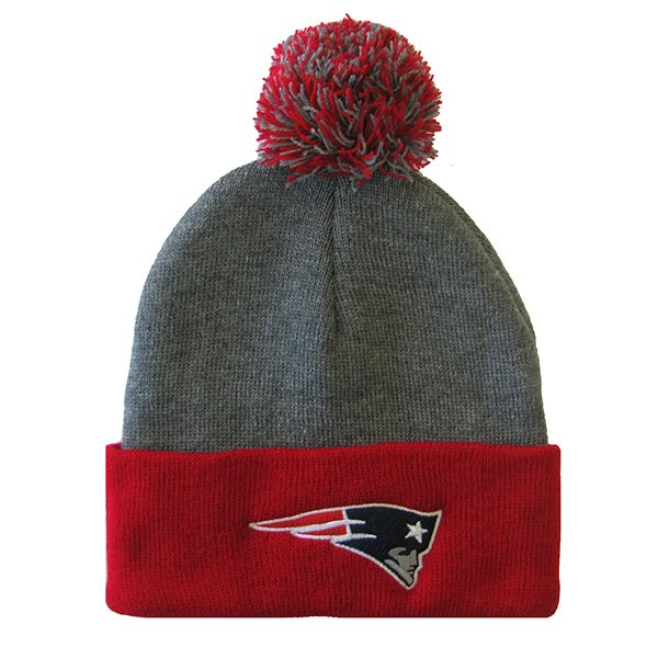 Youth Cuff Pom Knit Hat-Charcoal/Red