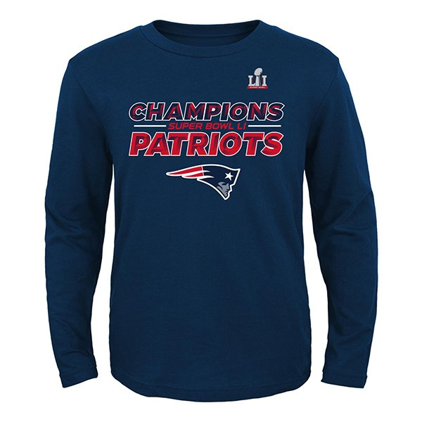Youth Super Bowl LI Champions Roster Long Sleeve Tee-Navy