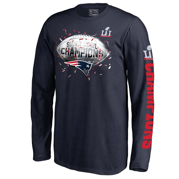 Youth Super Bowl LI Confetti Long Sleeve Tee-Navy