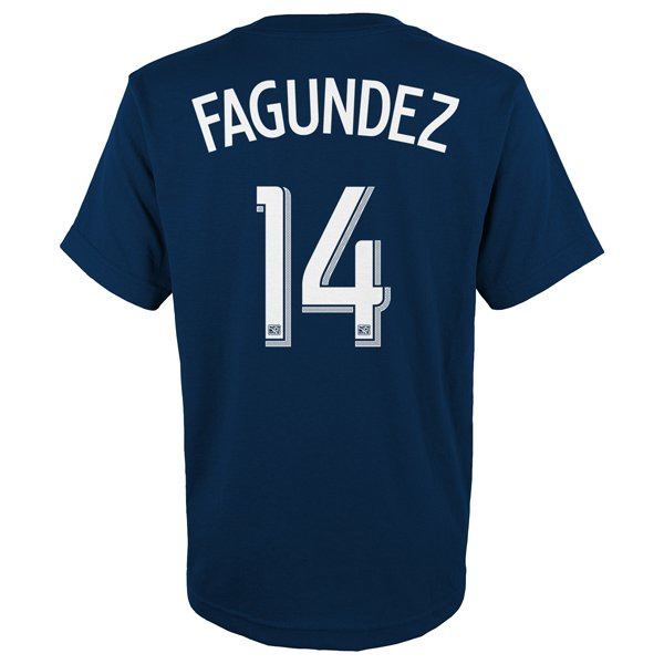Youth Fagundez #14 Name & Number Tee-Navy